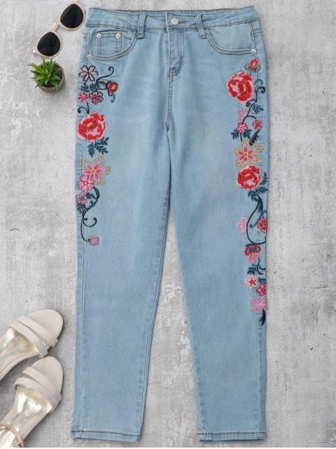 affordable Skinny Floral Embroidered Pencil Jeans - DENIM BLUE S Mobile