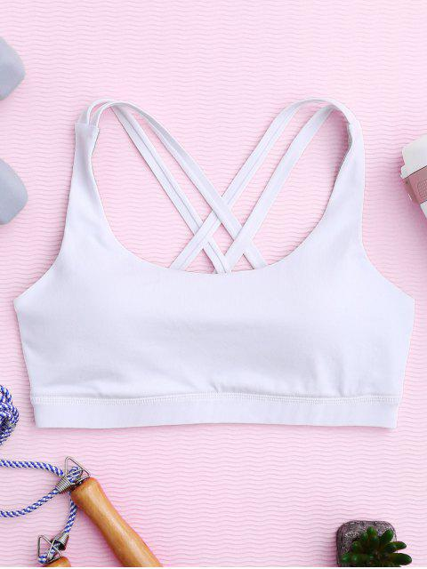 affordable Strappy Crossover Sports Bra - WHITE L Mobile