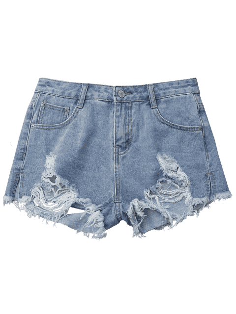 Denim Distressed Cutoffs Shorts - Denim Bleu L Mobile