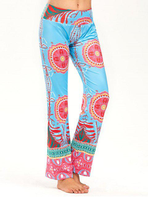 women's Print Wide High Waistband Straight Pants - COLORMIX S Mobile