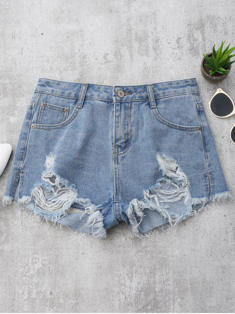Denim  Shorts mit zerrissene Cutoffs - Denim Blau L Mobile