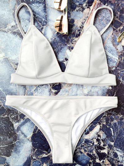 Cami Plunge Bralette Bikini Set - White M