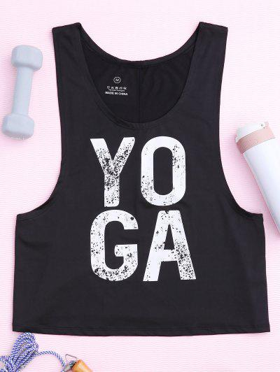 Yoga Dropped Armhole Sports Tank Top - Black M