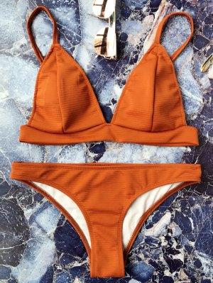 Cami Plunge Bralette Bikini Set - Brown L