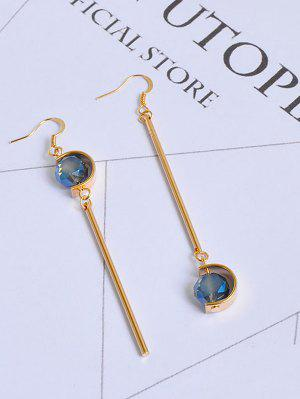 Faux Sapphire Ball Bar Haken Ohrringe - Golden
