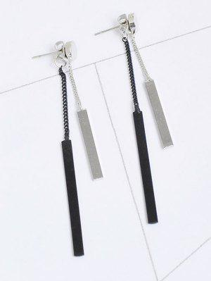 Metal Bar Chain Front Back Earrings - Silver