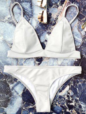 Traje De Bikini Sin Aros Con Tirante Fino Con Escote Pico - Blanco - Blanco L