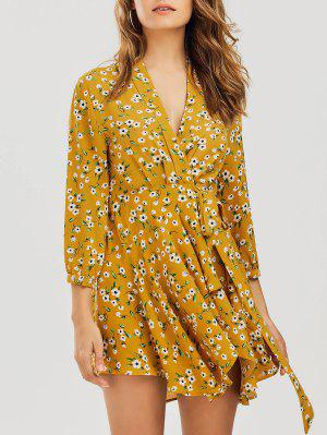 Floral Asymmetrical Wrap Mini Dress - Floral L