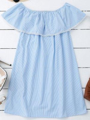 Mini Vestido A Rayas Con Hombros Al Aire Con Puntilla Ahuecada - Raya M