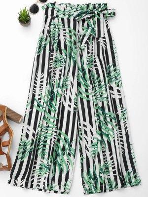 Stripes Leaves Print Wide Leg Pants - S