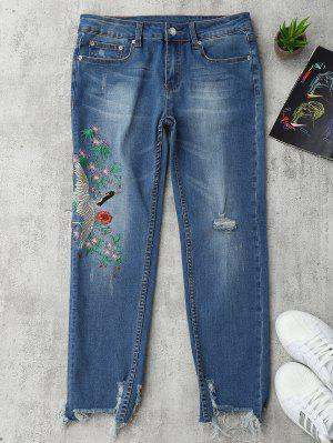 Jeans Rasgados Bordados Florales Del Pájaro - Denim Blue S