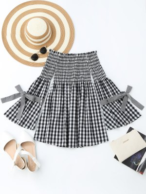 Checked Smocked Off Shoulder Casual Dress - Checked M