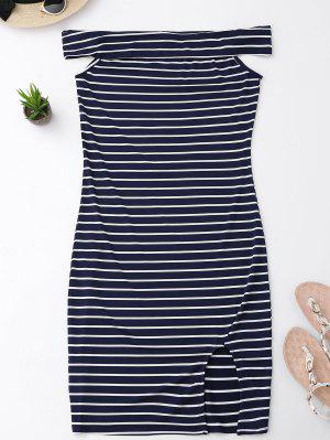 Side Slit Off Shoulder Striped Bodycon Dress