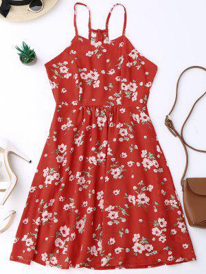 Vestido De Bata De Flores Minúsculos Con Tirante Fino - Rojo L