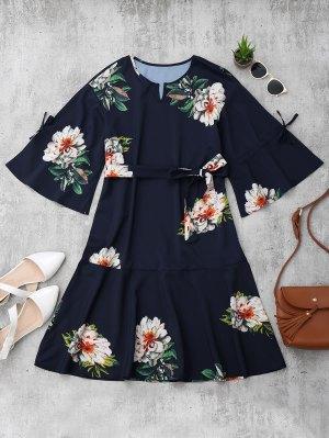 Flare Sleeve Belted Floral A-Line Dress - Floral S