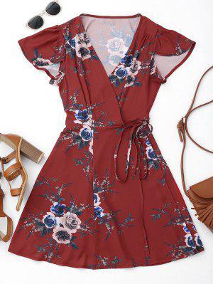 Mini Vestido Envuelto De Playa De Flores - Floral L