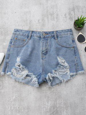 Denim Distressed Cutoffs Shorts - Denim Bleu S