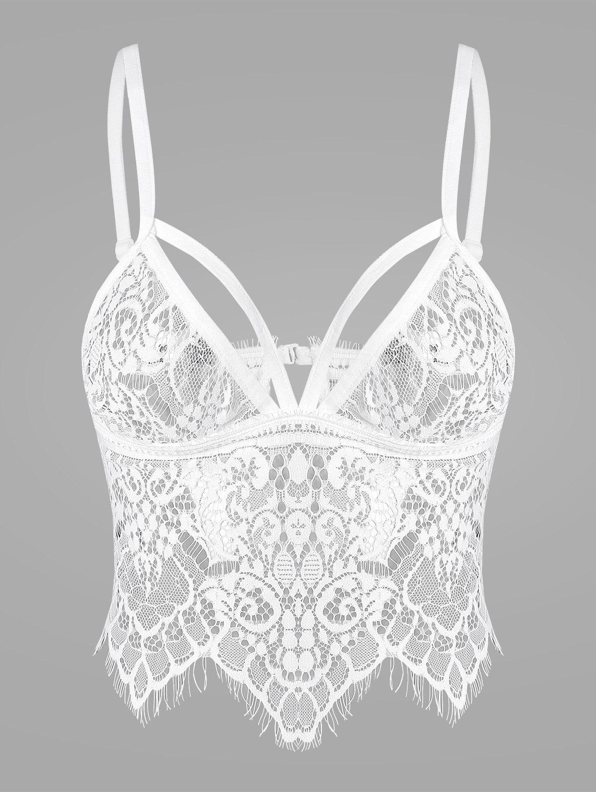 Lace See Thru Strappy Lingerie Bra 213844907