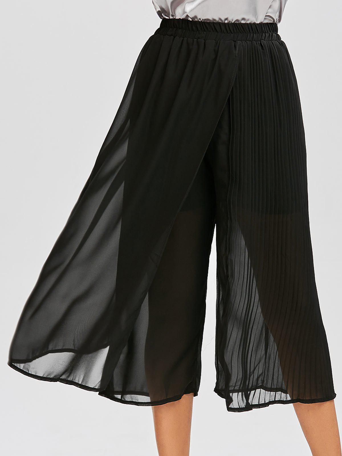 Chiffon Pleated Wide Leg Pants 213304701