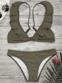 Padded Ruffle Strap Bikini Set - Khaki M