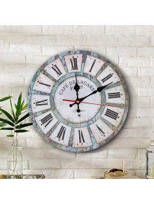 خمر الخشب جولة التناظرية غرفة المعيشة ساعة الحائط - أبيض 30 * 30cm