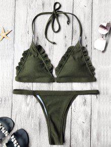 Rib Texture Frilled Thong Bikini Set - Deep Green S