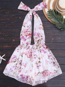 Buy Halter Floral Backless Romper - FLORAL L