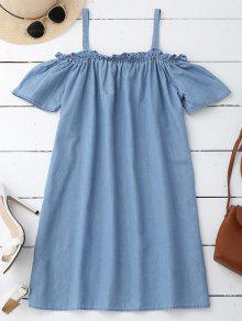 Straight Casual Cold Shoulder Dress - Light Blue L