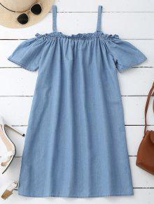 Straight Casual Vestido De Hombro Frío - Azul Claro S