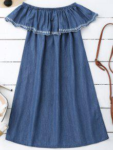 Embroidered Off Shoulder Mini Dress - Denim Blue S