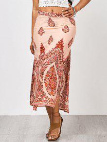 Floral Slit Beach Maxi Skirt - Floral S