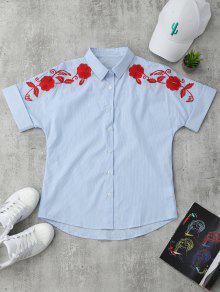 Short Sleeve Floral Embroidered Stripes Shirt - Stripe M