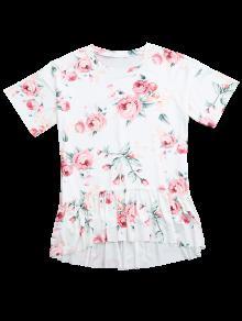 De M Blanco Bajo Volantes Vestido Floral Con Camiseta Alto p6ZqA