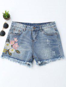 Embroidered Ripped Cutoffs Denim Shorts - Denim Blue Xl