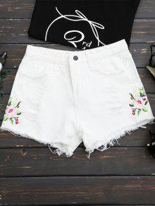 مزين هيم الزهور مطرزة السراويل ممزق - أبيض M