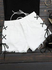Frayed Side Lace Up Ripped Denim Shorts - White M