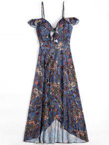 Floral Asymmetrical Cold Shoulder Beach Dress - Floral S