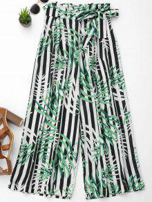 Stripes Leaves Print Wide Leg Pants - L