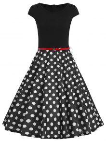 Vestido Retro Ajustado Llamativo De Lunares Con Cinturón - Negro 2xl