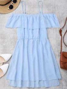 Robe Mini En Mousseline De Soie épaules Dénudées à Volants - Bleu Clair S