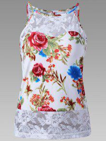 الدانتيل تريم شير الأزهار تانك الأعلى - أبيض M