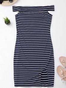 Schulterfreies Enges Kleid Mit Streifen Und Seitlichem Schlitz - Streifen  Xl