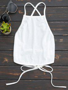 Open Back Cropped Tank Top - White S