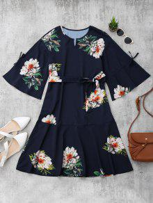 Flare Sleeve Belted Floral A-Line Dress - Floral S