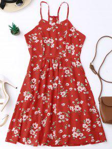 Cami Tiny Floral Smock Dress - Red S