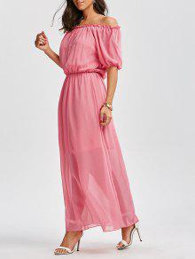 فستان ماكسي بلا اكتاف عالية الخصر شيفون  - زهري M
