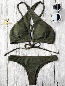 Rib Texture Keyhole Wrap Bikini Set - Deep Green S