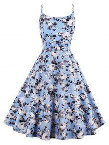 فستان الشمس عالية الخصر طباعة الوردة - الضوء الأزرق S