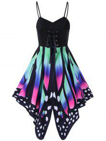 فستان عالية الخصر طباعة الفراشة رباط - L