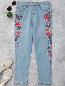 Skinny Floral Embroidered Pencil Jeans - Denim Blue S